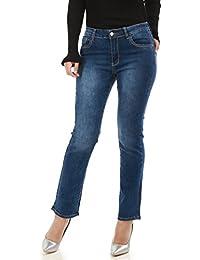 La Modeuse Jeans femme grande taille coupe droitePassants pour ceinture