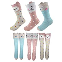 Girls Knee High Long Socks For Girls Ages 4-7 From Tiny Captain (Pink, Grey, Teal, Medium)
