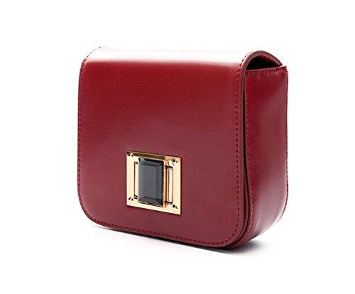 KYFW Damen Modische Metalldrehschloss Kleine Quadratische Tasche Red