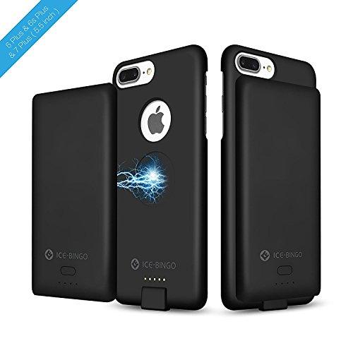 iPhone 7Plus Coque chargeur de batterie, Ice-bingo 5000mAh Extended batterie étui de chargement, portable, Housse de protection et chargeur de batterie 2en 1, jus Lot Back Up Power Bank 14cm pour  noir