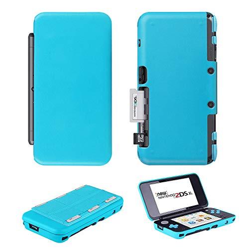 Ztotop Leder Case und Hard Crystal Clear Case Spiele Karte Halterung für Neue Nintendo 2DS XL, Fantastische Magnetic Schutzhülle Cover Case mit 6Spiele Die Kartusche Blau Blue Crystal Case