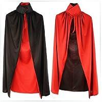 SYMTOP Capa de Halloween para Adultos de 140 Cm de Largo Negro Rojo del Vampiro Drácula Villian Gótico Mago XL Cabo