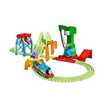 Thomas & Friends Trackmaster Hyper Glow Night Delivery Playset GGL75, Thomas the Tank Engine & Friends, Glowing Track Pieces, Cranky The Crane, Multicoloured