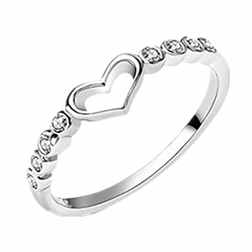 Monbedos Damen Liebesring - Hochzeitsring, weißer Diamant, anpassbare Größe für Frauen, Schmuck, Blumen-Zirkon, Spinner, Ringe, drehbar (Halo Diamant Versprechen Ringe)