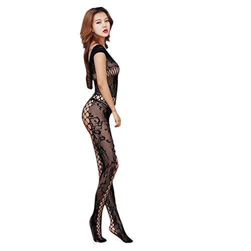 ZIYOU Frau Pyjama Dessous Set, Damen Perspektive Lingerie Unterwäsche Lange Nachtwäsche Overall Schlafanzüge (Sexy Sheer Straps Strumpfhose)