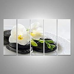 Cuadro Cuadros flores blancas mojadas en las piedras Impresión sobre lienzo - Formato Grande - Cuadros modernos EOL