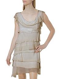 fc1e1fd3f2b065 CASPAR Damen leichtes Kleid/Sommerkleid mit Franzen aus Seide - viele  Farben - SKL006