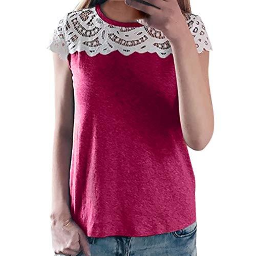 kolila Damen Spitze T-Shirts Tops, Schlank Patchwork Spitze Rundhals Kurzarm, Frauen Casual Sommer Tops Bluse Tee(Hot Pink,2XL)