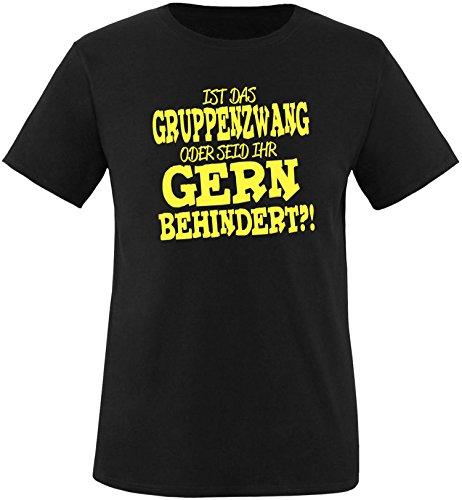 EZYshirt® Ist das Gruppenzwang oder seid ihr gern behindert Herren Rundhals T-Shirt Schwarz/Gelb