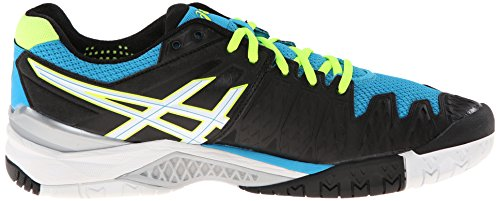 Asics Gel-Resolution 6 Synthétique Chaussure de Tennis Onyx-White-Atomic Blue