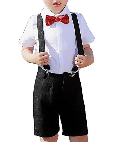 Garçons Gentleman Manches Courtes Formelle Bow Chemise Et Short Set DE 2 Pièces Quge