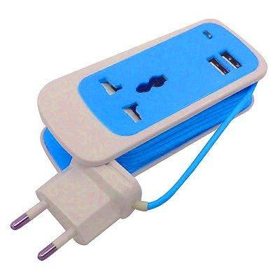 takestop® ADATTATORE DUAL USB azzurro MULTIFUNZIONE 3 in 1 UNIVERSALE SOCKET 1,5 METRI PROLUNGA CARICABATTERIE CARICA BATTERIA