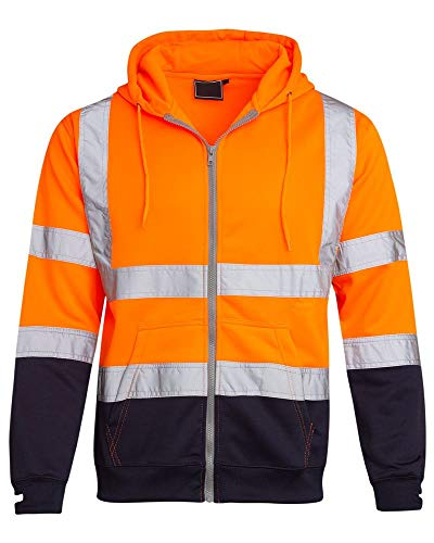 shelikes Hi Vis Viz Visibility Two Tone Zipped Zip Hooded Hoody Sweatshirt Jacket Top