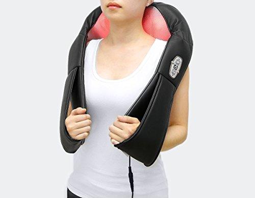1byone Shiatsu Nacken und Rückenmassagegerät Knet-Massagegerät mit Wärme und Auto-Adapter Schwarz -