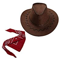 TiaoBug Kids Boys Girls Cowboy Hat Western Hat with Paisley Bandanna Halloween Dress Up Clothes