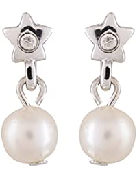 Estelle White Alloy Drop And Dangle Earring Set Earing In Bright Colour A.D Stone Ladies Women Tops Jewelry Simple...