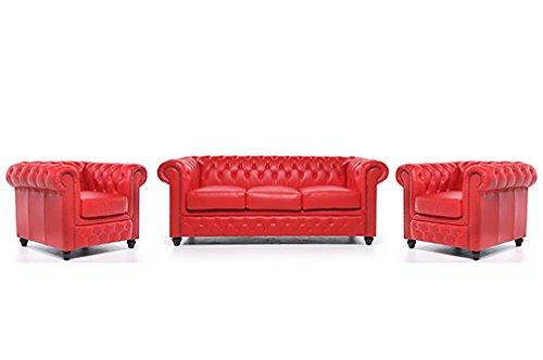 Original Chesterfield Sofa und Sessel – 1 / 1 / 3 Sitzer – Vollständig Handgewaschenes Leder – Rot
