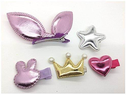 5pezzi Bling PU Candy capelli clip Barrettes Stella Cuore Corona a forma di coniglio