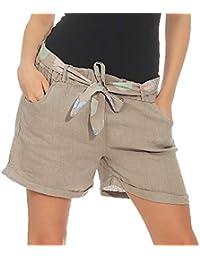ebc608c4b6 Malito Mujer Pantalones de Lino Pantalones Cortos Bermuda Basic Plain  Colores 6058