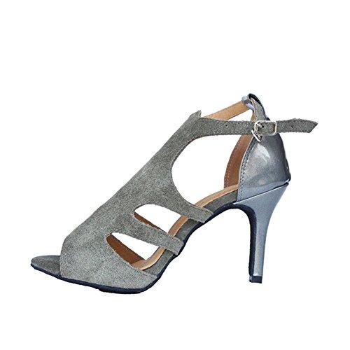 Wgwioo Chaussures De Danse En Cuir Chaussures En Daim En Cuir Latin Salsa Samba Tango En Cuir Salle De Bal Avec Fermeture Velcro Sandales À Talons Hauts Gris C