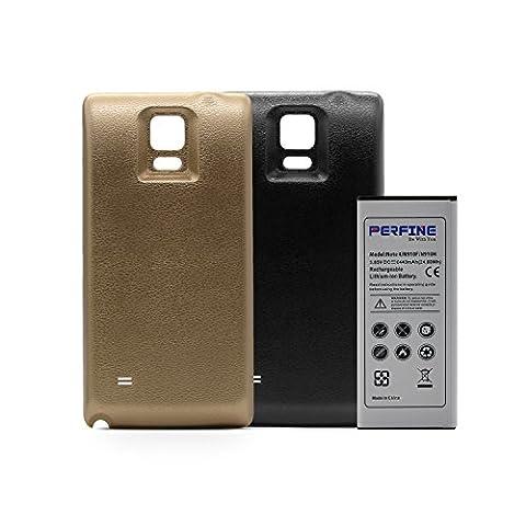 Perfine Galaxy Note 4 Ersatzakku 6440 mAh,Ersatzbatterie Power Akku Accu Batterie mit NFC für Samsung N910F N910H + Mode Akku Deckel Schale Schwarz-Gold