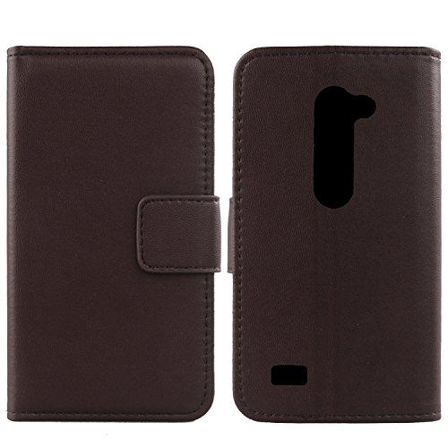 Gukas Design Echt Leder Tasche Für LG Leon 4G LTE H340N C50 / Optimus Leon C40 Hülle Handy Flip Brieftasche mit Kartenfächer Schutz Protektiv Genuine Premium Case Cover Etui Skin (Dark Braun)