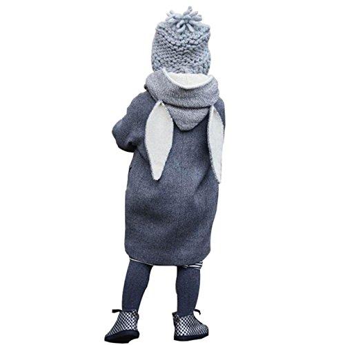 Sunnywill Herbst Winter Hooded Fell Kaninchen Jacke Dicke warme Kleidung (3 jahr, Grau) (Cord Fell)