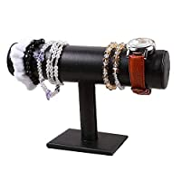 ARTSTORE T-Bar Necklace Jewelry Display Stand,Black Leather Watch Bracelet Bangle Organizer