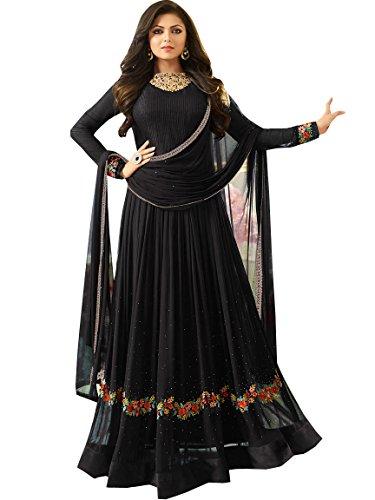 Ethnic Yard Semi-Stitched Free Size Designer Faux Georgette Festive Wear Anarkali Gown