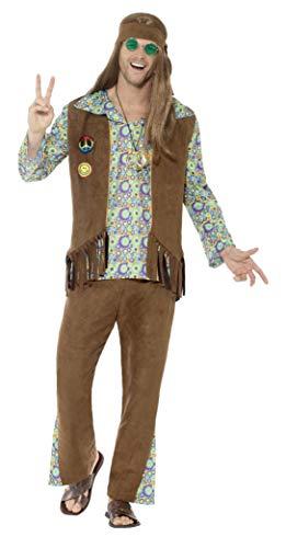 Smiffys Herren 60er Jahre Hippie Kostüm, Hose, Oberteil, Weste, Medaillon und Haarband, Größe: XL, - Hippie Kostüm Hose