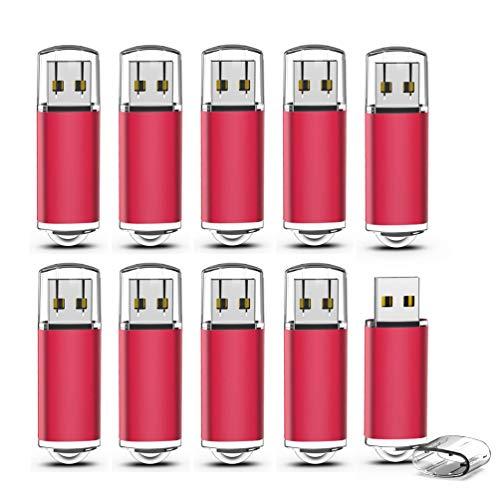 KEXIN 10 Stück USB-Stick 8GB USB-Flash-Laufwerk USB 2.0 Speicherstick Mini Pendrive Memory Sticks Flach Drive Cap Design für PC Computer Geschäft Student Geschenk (Rot) (Usb-flash-laufwerk 8gb)