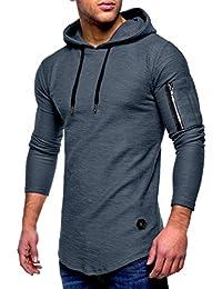 Yvelands Liquidación Moda Casual para Hombres Hermoso O-Cuello con  Cremallera Camiseta de Manga Larga a Rayas con Corte Slim… 904cdc34867