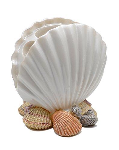 TOWOMO Creative Scallop Form Zahnbürstenhalter Mittelmeer Art Badezimmer Dekoration (reines Weiß)