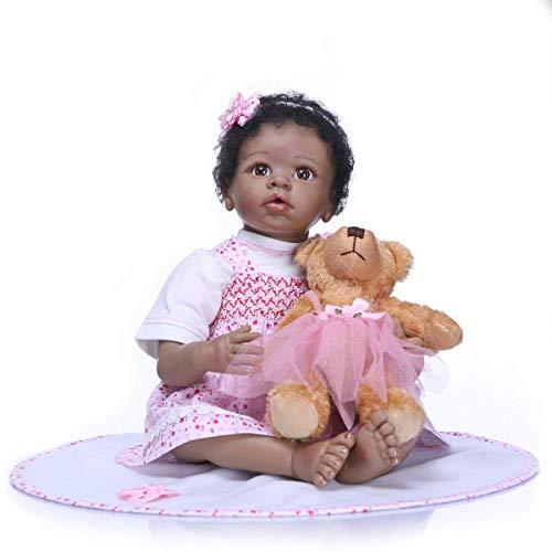 TERABITHIA 22 Zoll Weiche Sanfte Berührung Silikon Vinyl Schwarz Baby Puppe Lebendig Sammlerstück African-American Eyes Mouth Open Neugeborene Mädchenpuppen, die echtes Kind Geburtstag (Lebensechte Baby-puppen Für Erwachsene)
