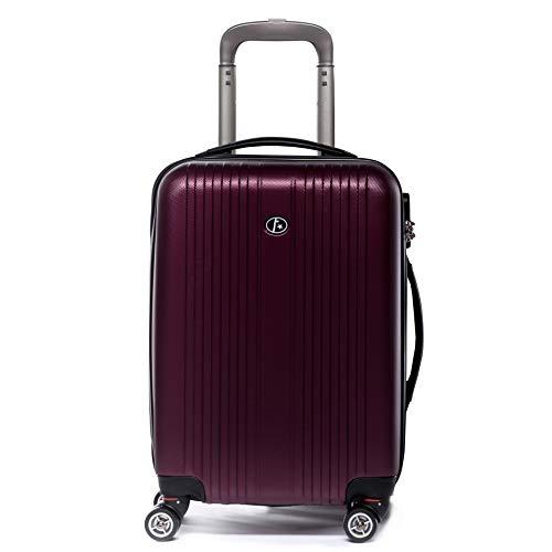 FERGÉ Trolley bagaglio a mano espandibile TOLOSA - Valigia rigida 55x35x22 cm valigetta bagaglio cabina 4 ruote girevole rosso