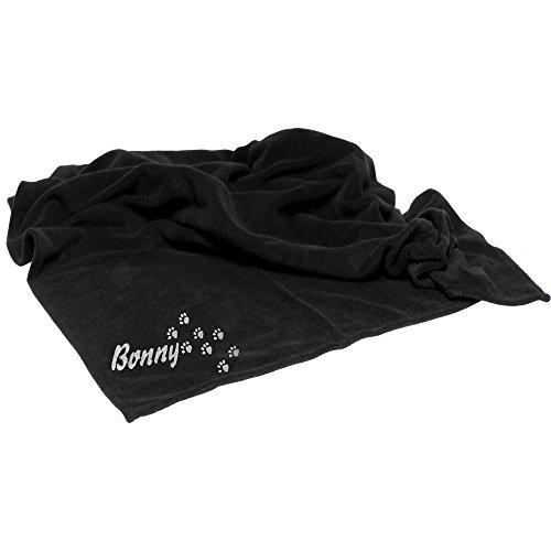 Fleecedecke Schwarz mit Knochen und Name diese Schondecke wird bestickt mit dem Namen Ihres Hundes eine kuscheligen Hundedecke Schmusedecke aus flauschig-weichem Polarfleece viele Motive lieferbar