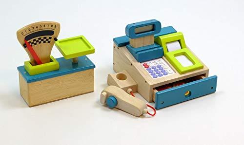 Unbekannt 2er Set Spielkasse und Kaufladen Waage aus Holz / Kasse mit integriertem Taschenrechner / Waage mit Gewichts-Zeiger + Skala / türkis+grün (Taschenrechner Spielzeug)