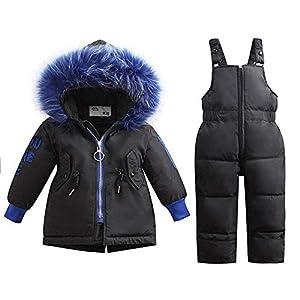 Unisex-Baby-Kleinkind-Winter-Snowsuit Ski Snowpants Daunenmantel Mit Kapuze Wattierte Jacke 2-teiliges Set Outfit Für 1-4 Jahre Alt Beige-Label 80/Height 75-85 cm
