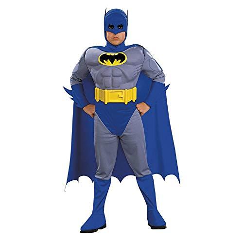 Batman Mit Muskeln Kostüm - Batman Deluxe Kinderkostüm mit Muskeln - L - 140cm