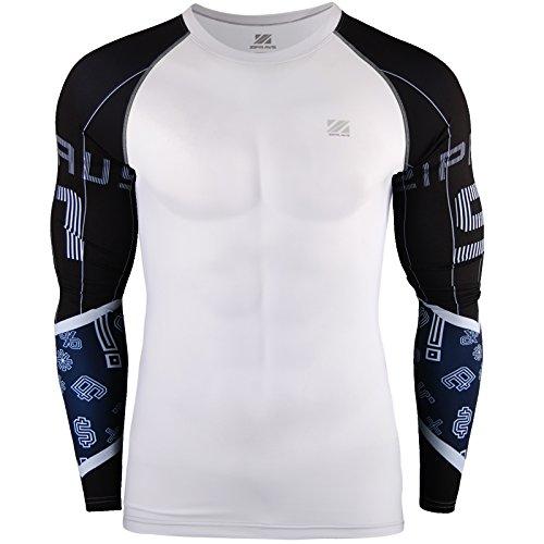 Zipravs Herren Compression-Shirt Langarm Kompressionshirt Cool Top