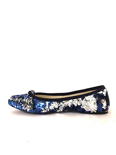 Ballerine pailletes AZ00-92 in pelle eleganti scarpe basse MainApps Blu