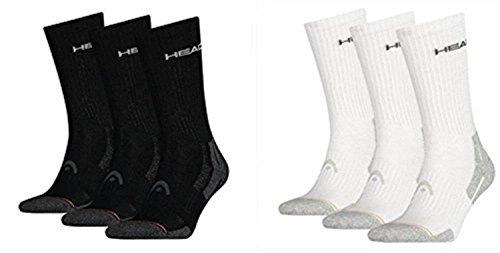 HEAD Herren Socken Performance Crew 3er Pack, 6er Pack, mt (43/46, Black/White = 6 Paar)