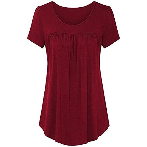 2018 LASltd Frauen Sommer Crop Top Rundhals Solid Bluse Damen Kurzarm Casual T-Shirt (XXL, Wein Rot)