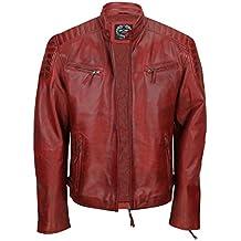 fbaffabf23e Amazon.es  chaqueta cuero hombre - Rojo