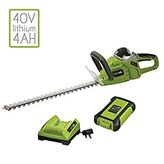 Aerotek 40V Series X2 Cordless Hedge Trimmer Battery Powered Lightweight 500mm Cutting Length with Brushless Motor & 16mm Cutting Capacity (Cordless Hedge Trimmer with Battery & Charger)