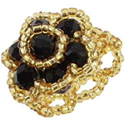 Ladies Black Yellow Plastic Crystal Flower Cluster Finger Ring US 4