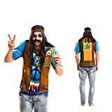 Partychimp 83-Y00056 - Hippie T-Shirt, Erwachsene, L, braun