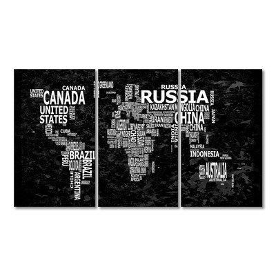 WandbilderXXL® Gedrucktes Leinwandbild Weltkarte Nr.12 180x100cm - in 6 verschiedenen Größen. Fertig gespannt auf Holzkeilrahmen. Günstige Leinwanddrucke für Kinderzimmer Schlafzimmer.