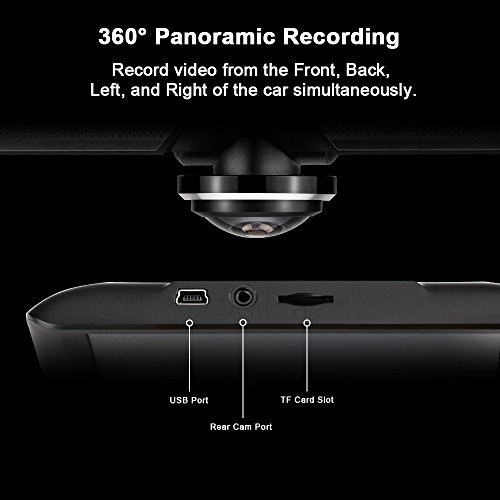 360 Panoramic Dash Camera having Rear Camera 1080P 1440P FHD Auto Cam 220 varied Angle 360 Spherical varied Angle F20 7P Fisheye Lens 45 hint panel 24H Parking Monitoring G Sensor picture Recording Collision Lock 4 Video Recording Mode black car or truck Driving Recorders