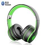 Cuffie Bluetooth 5.0 Senza Fili, Sunvito Pieghevole Auricolari con Mic, Lettore MP3, Radio FM, Wireless e Cuffie Cablate, Cuffie Over Ear (Nero+Verde)